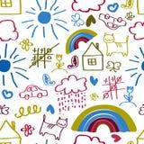 Dzieci rysuje bezszwowego wzór Zdjęcia Royalty Free