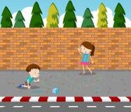 Dzieci rysuje grę na footpath ilustracja wektor