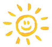 Dzieci rysuje jaskrawego słońce symbolu wektor royalty ilustracja
