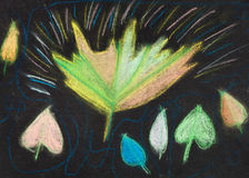 Dzieci rysuje - jesień liście na czerni Zdjęcia Stock