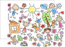 dzieci rysunków s wektor Obraz Royalty Free