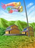 Dzieci, s dnia festiwalu tło w Japonia ilustracja wektor