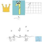 Dzieci s matematyki praca domowa Cyfra jeden Punktu statek Zdjęcia Royalty Free