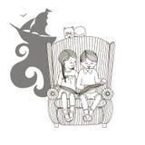 Dzieci siedzą w krześle i czytają Odosobniona wektorowa ścieżka Fotografia Royalty Free