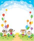 Dzieci skaczą ob lata tła bunner kreskówki śmiesznego wektorowego charakteru ilustracja Zdjęcia Royalty Free