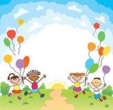 Dzieci skaczą ob lata tła bunner kreskówki śmiesznego wektorowego charakteru ilustracja Zdjęcie Royalty Free