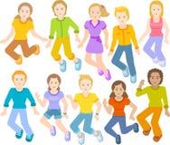 Dzieci skaczą wpólnie, szczęśliwe twarze ilustracja wektor