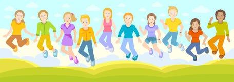 Dzieci skaczą wpólnie ilustracji