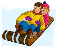 Dzieci sledding Fotografia Stock