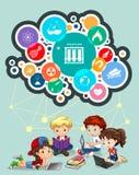 Dzieci studiuje i nauka symbole Zdjęcia Stock