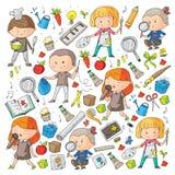 Dzieci Szkoła i dzieciniec Twórczość i edukacja muzyka eksploracja nauka wyobraźnie Sztuka i nauka royalty ilustracja