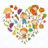 Dzieci Szkoła i dzieciniec Zdrowy jedzenie i napoje Żartuje kawiarni owoce, warzywa Chłopiec i dziewczyny jedzą zdrowego ilustracji