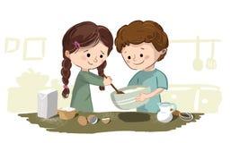 Dzieci target1121_1_ w kuchni Obrazy Royalty Free