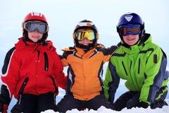 dzieci target2607_1_ szczęśliwą nartę obrazy royalty free