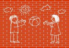 dzieci target4833_1_ ścianę royalty ilustracja