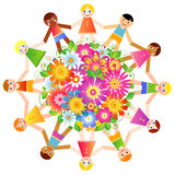 Dzieci wokoło kuli ziemskiej rozkwitać Zdjęcia Royalty Free