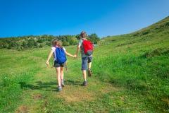 Dzieci trzymają ręki podczas gdy wycieczkujący w górach Obraz Stock