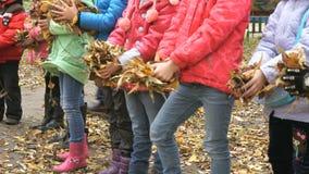 Dzieci trzymają w ich ręka koloru żółtego ulistnienie zdjęcie wideo