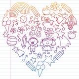 Dzieci uprawiają ogródek, Patern, ręka rysujący dziecko ogrodowi elementy wzory, doodle ilustracja, wektor, ilustracja, Pionowo, ilustracja wektor