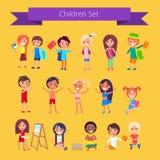 Dzieci Ustawiają Odosobnioną ilustrację na świetle - pomarańcze royalty ilustracja