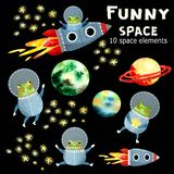 Dzieci ustawiający z planetami i rakietą royalty ilustracja