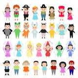 Dzieci w karnawałowych kostiumach, set różny dziecko naród royalty ilustracja