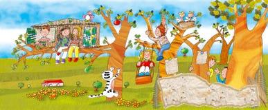 Dzieci w parku na drzewach Zdjęcie Stock