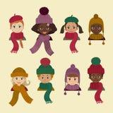 Dzieci w różnym pióropuszu Zimy jesieni kapelusz Royalty Ilustracja