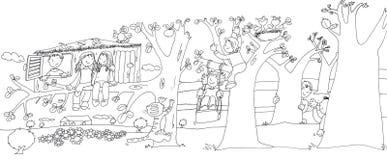 Dzieci w stawie z żabami, nakreślenia, ołówków doodles i nakreślenia, i Obrazy Royalty Free