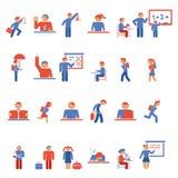 Dzieci w szkolnych płaskich ikonach Fotografia Stock
