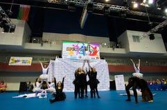 Dzieci współzawodniczą w SpringCup tana międzynarodowej rywalizaci Zdjęcia Royalty Free