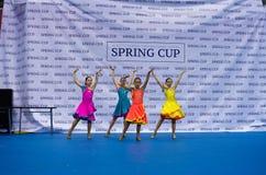 Dzieci współzawodniczą w SpringCup tana międzynarodowej rywalizaci Zdjęcie Royalty Free