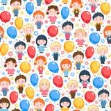 Dzieci z balonami, czerwienią, kolorem żółtym i błękitem, wektor bezszwowy wzoru Obraz Royalty Free