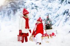 Dzieci z choinką Śnieżna zimy zabawa dla dzieciaków Zdjęcie Stock