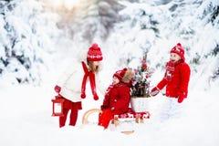 Dzieci z choinką Śnieżna zimy zabawa dla dzieciaków Zdjęcia Royalty Free
