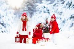 Dzieci z choinką Śnieżna zimy zabawa dla dzieciaków Obrazy Royalty Free