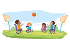 Dzieci z kalectwami bawić się koszykówkę w na wolnym powietrzu Ilustracja Wektor