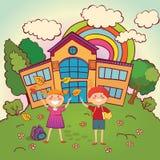 Dzieci z powrotem szkoła royalty ilustracja