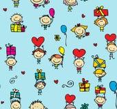 Dzieci z prezent teksturą Fotografia Stock