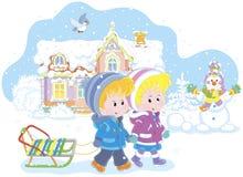 Dzieci z saniem na śnieżnym zima dniu ilustracji