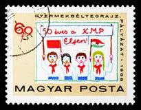 Dzieci z sztandarem i flagami, Węgierski partii komunistycznej seria około 1968, ilustracji