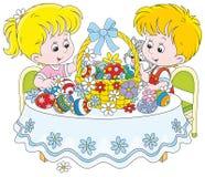 Dzieci z Wielkanocnym koszem ilustracja wektor