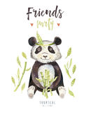 Dzieci zwierząt pepiniery odosobniona ilustracja dla dzieci Akwareli boho tropikalny rysunek, dziecko zwrotnika śliczny punda Dzi Zdjęcie Royalty Free