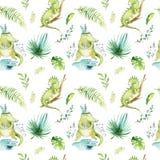 Dzieci zwierząt pepiniery odosobniony bezszwowy wzór Akwareli boho tkaniny tropikalny rysunek, dziecka tropikalny rysunkowy ślicz Zdjęcia Royalty Free
