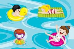 dzieciaków basenu dopłynięcie ilustracji