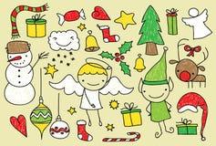 Dzieciaków bożych narodzeń doodle Obrazy Royalty Free