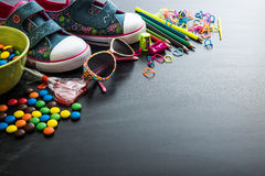 Dzieciaków cukierki i materiał obrazy stock