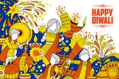 Dzieciak świętuje szczęśliwego Diwali doodle Wakacyjnego tło dla lekkiego festiwalu India royalty ilustracja