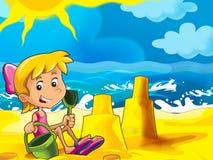 Dzieciak bawić się na plaży royalty ilustracja