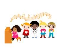 Dzieciak bawić się Pianino Obrazy Stock